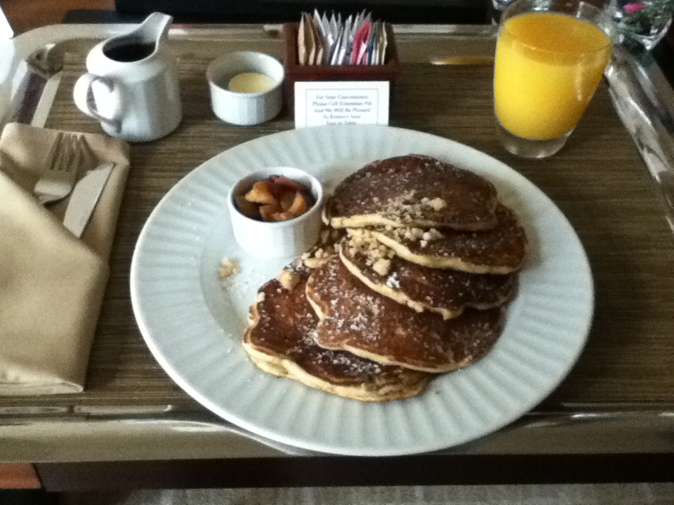 Pancakes with maple syrup, some apple stuff and orange juice @ Grand Hyatt Seattle